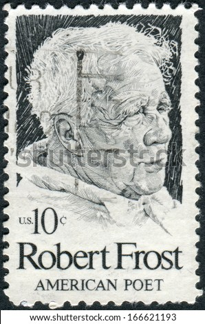 USA - CIRCA 1974: Postage stamp printed in the USA, shows a portrait of American poet Robert Frost, circa 1974 - stock photo