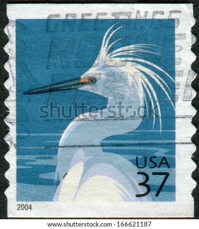 USA - CIRCA 2004: Postage stamp printed in the USA, shows a Snowy Egret (Egretta thula), circa 2004 - stock photo