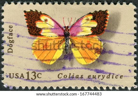 USA - CIRCA 1977: Postage stamp printed in the USA, shows California dogface butterfly, circa 1977 - stock photo