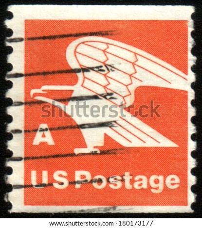 USA - CIRCA 1978: Postage stamp printed in USA, shows an eagle - a symbol of the U.S. Postal Service, circa 1978 - stock photo
