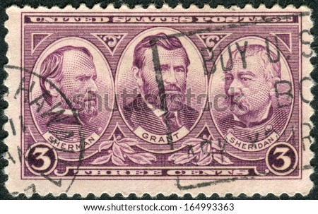 USA - CIRCA 1937: Postage stamps printed in USA, Issued in honor of the United States Army, shows Generals William Tecumseh Sherman, Ulysses S. Grant and Philip Henry Sheridan, circa 1937 - stock photo