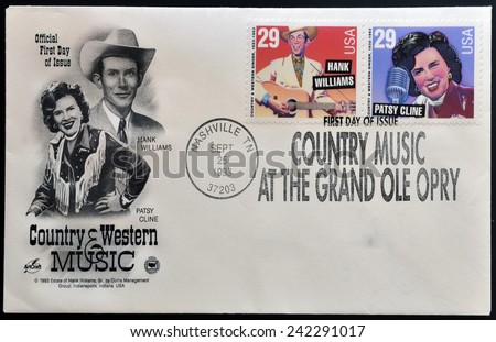 USA - CIRCA 1993: Postage stamps printed in USA, shows Hank Williams Type and Patsy Cline, circa 1993 - stock photo