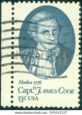 USA -CIRCA 1978: printed in USA shows Capt. James Cook, by Nathaniel Dance, 200th anniv. arrival in Hawaii, Jan. 20, 1778, and anchorage in Cook Inlet, near Anchorage, Alaska, June 1, 1778, circa 1978 - stock photo