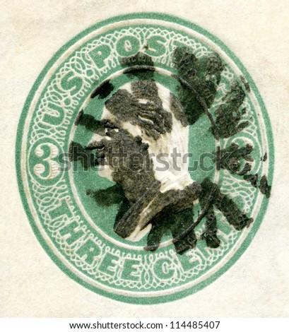 USA - CIRCA 1870's: A stamp printed in USA shows President George Washington, circa 1870's - stock photo