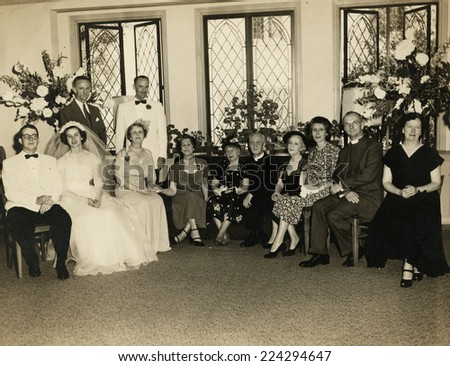 USA- CIRCA 19s: Vintage photo shows wedding.   - stock photo