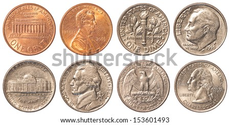 USA circulating coins - stock photo
