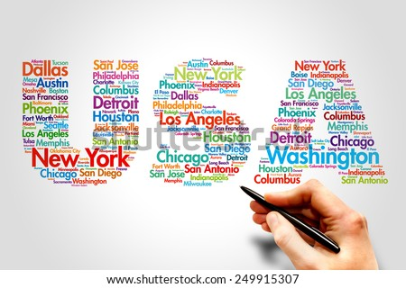 USA, cities names word cloud travel concept - stock photo