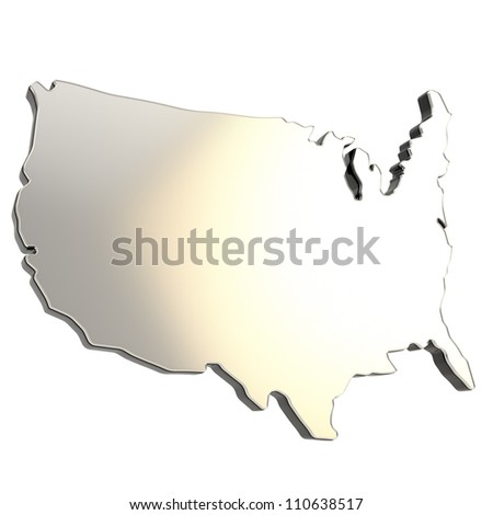 USA country shaped copyspace dimensional chrome metal plate with black edging isolated on white background - stock photo