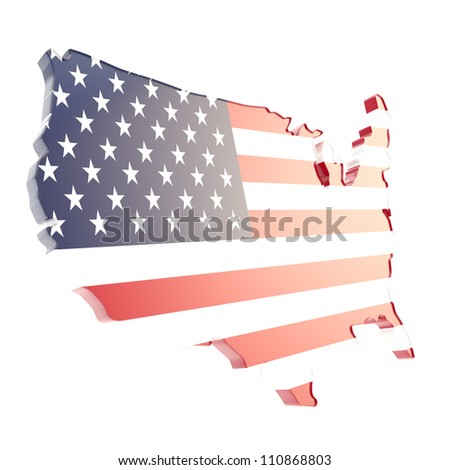 USA country shaped copyspace dimensional glossy plate with the texture of flag isolated on white background - stock photo