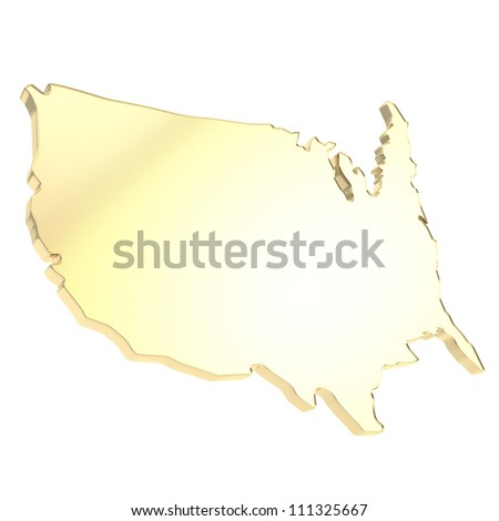 USA country shaped copyspace dimensional golden plate isolated on white background - stock photo