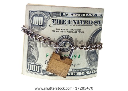 USA dollars held together with lock and chain on a white background - stock photo