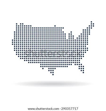 USA dot map. Concept for networking, technology and connections - stock photo