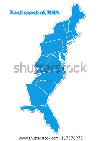 USA east coast map - stock photo