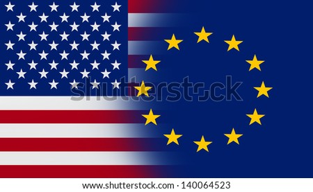 USA - EU cooperation - stock photo