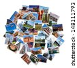 USA famous landmarks and landscapes photo collage, over white background - stock photo