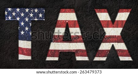 USA flag - Federal income tax, IRS - stock photo