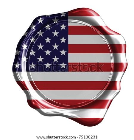 USA flag imprinted on a wax stamp - stock photo