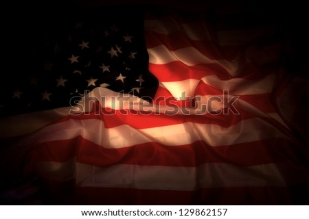 USA flag in the dark as very nice background - stock photo