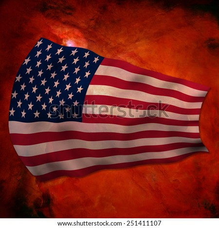 USA Flag in the wind's explosion of a supernova - stock photo