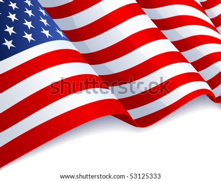USA flag in white background - raster version - stock photo
