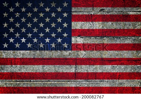 USA flag on grunge background. United states of America patriotic background for 4th of july - stock photo