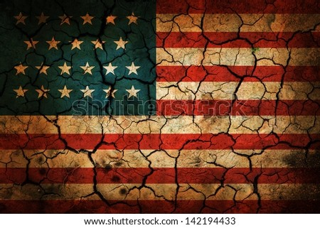 USA flag painted on cracked earth background - stock photo