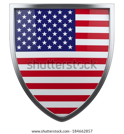 USA flag shield isolated icon. - stock photo
