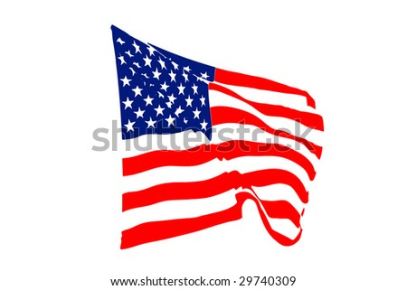 USA flag waving in the wind isolated on white - stock photo