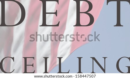 USA flag with debt ceiling words - stock photo