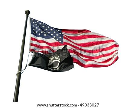 USA flag with POW/MIA flag - stock photo