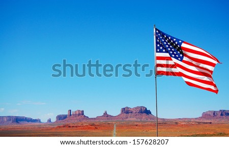 USA, Flag with the canyon in the background - stock photo