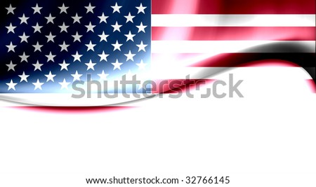 Usa flag with waves and light effects - stock photo