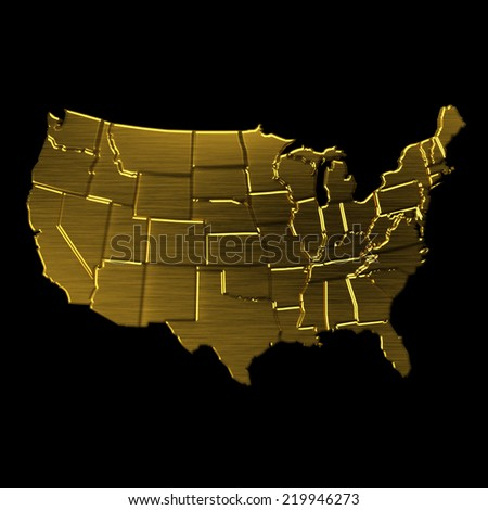 USA Golden map by states.VIP symbol - stock photo