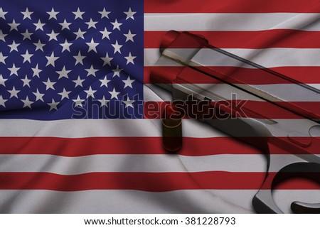 USA Gun Laws flag with pistol gun and bullet - stock photo