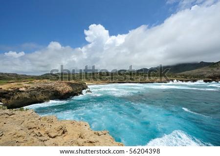 USA, Hawaii, Kauai island, rough seas - stock photo