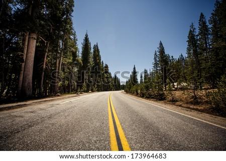 USA Highway in Yosemite National Park, California - stock photo