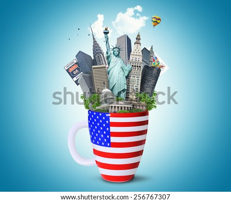 USA, landmarks of the USA in the Cup with the American flag - stock photo