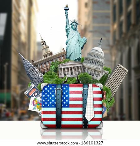 USA, landmarks USA, suitcase and New York - stock photo