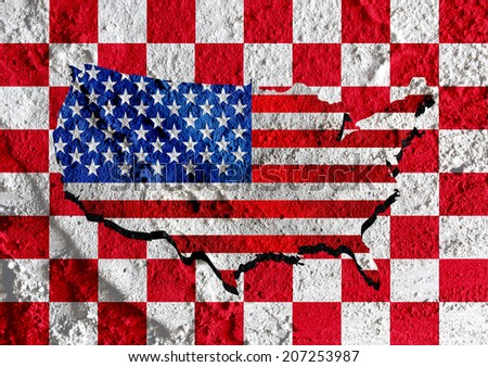 USA map and flag  on Cement wall texture background design - stock photo