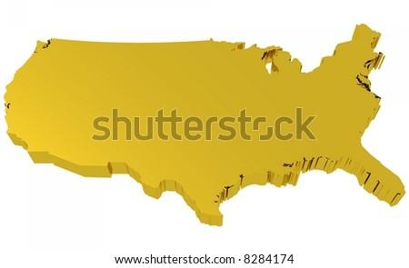 USA Map - Golden - stock photo