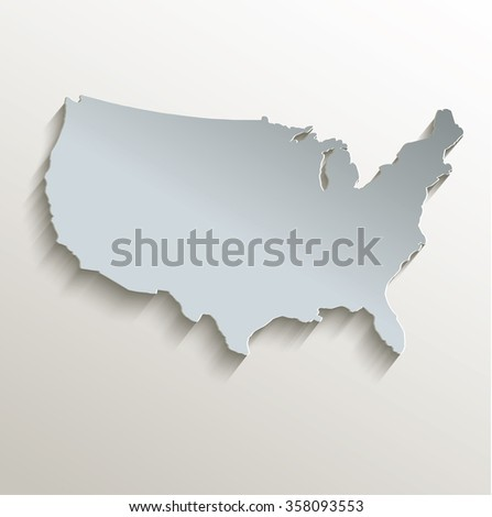 USA map white blue card paper 3D raster - stock photo