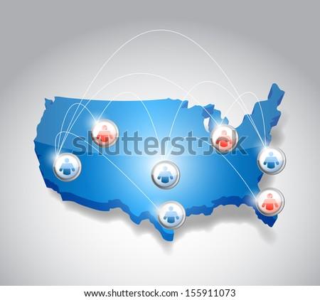 usa network communication illustration design over white - stock photo