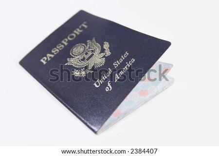 usa passport shallow DOF focus on america - stock photo