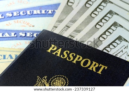USA Passport with American Currency Travel documents tourism concept - stock photo