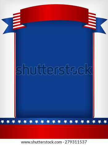 USA patriotic 4 th of july frame with banner on top - stock photo