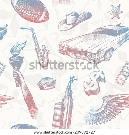 USA signs & symbols - seamless hand drawn background - stock photo