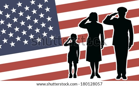USA soldier family salute - stock photo