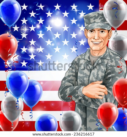 USA Soldier Illustration of a handsome happy American soldier in front of a US flag with party balloons. Great for 4th July, Veterans day, Independence Day or similar. - stock photo