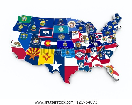 usa state flags on 3d map - stock photo