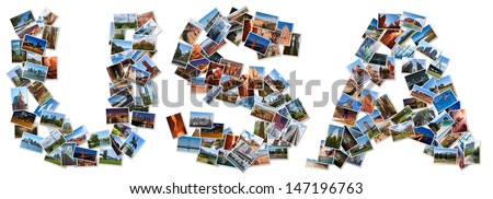 USA text shape written with pictures, over white background - stock photo
